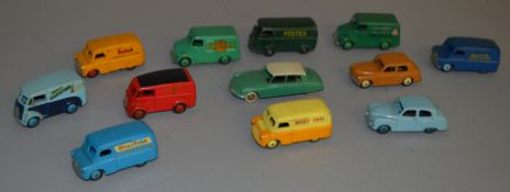 12x Unboxed Dinkky models including 4x Bedford Vans with various liveries.