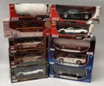 10 Motor Max 1/18 scale diecast model cars. All boxed.
