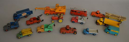 15x Dinky Toys and Supertoys including Ever Ready Guy Van and #23 Citroen Tow Truck, unboxed