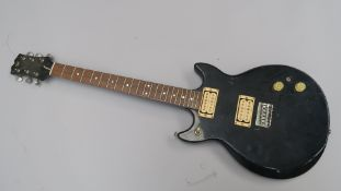 Electric guitar Professional serial number 1040549 black finish with wooden neck. Needs new strings.