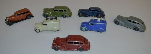 7x Vintage Dinky Toys including Packard, Buick, Chrysler etc, unboxed.