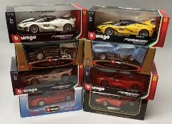 8 Burago 1/18 scale Ferrari diecast model cars. All boxed. (8)