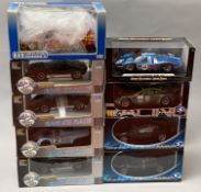 9 assorted 1/18 scale models cars: 4x Eagle's Race, 1x Universal Hobbies, 1x Shelby Collectibles