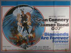 Diamonds are Forever original 1971 British Quad film poster featuring full colour artwork of Sean