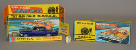 Corgi Toys #497 the Man From UNCLE Thrush-Buster, boxed, with card display plinth and two Waverley
