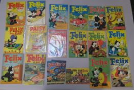 Felix the Cat collection of vintage comics including Toby Press 3D No 1 (with glasses), No 34 &