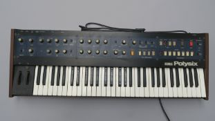 Korg Polysix 6 voice polyphonic synthesiser keyboard from 1981 made in Japan Serial No 388851. In