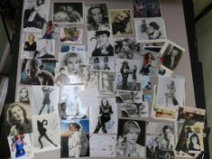 Collection of photographs, many signed, Honor Blackman signed photo in blue with COA, Sally