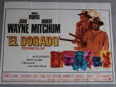 El Dorado original British Quad film poster starring John Wayne and Robert Mitchum in Howard Hawks