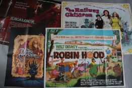 Disney and family genre British Quad film posters titles include Robin Hood (Disney first release