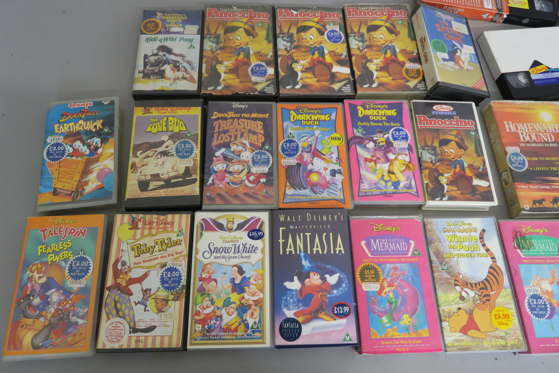 Lot 39 - Walt Disney home video collection of 55 VHS videos the majority have come direct from a rental store