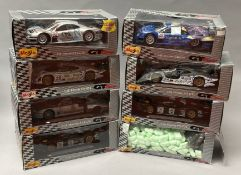 8 Maisto 1/18 scale GT Racing diecast model cars. All boxed.