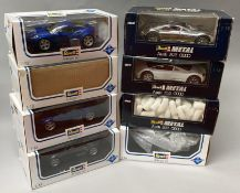 8 Revell 1/18 scale sports car models. All boxed.