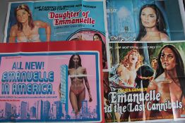 Collection of 16 adult and comedy genre British Quad film posters titles include Emmanuelle and