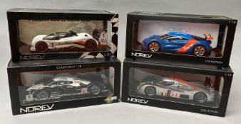 4 NoRev 1/18 scale racing car models.
