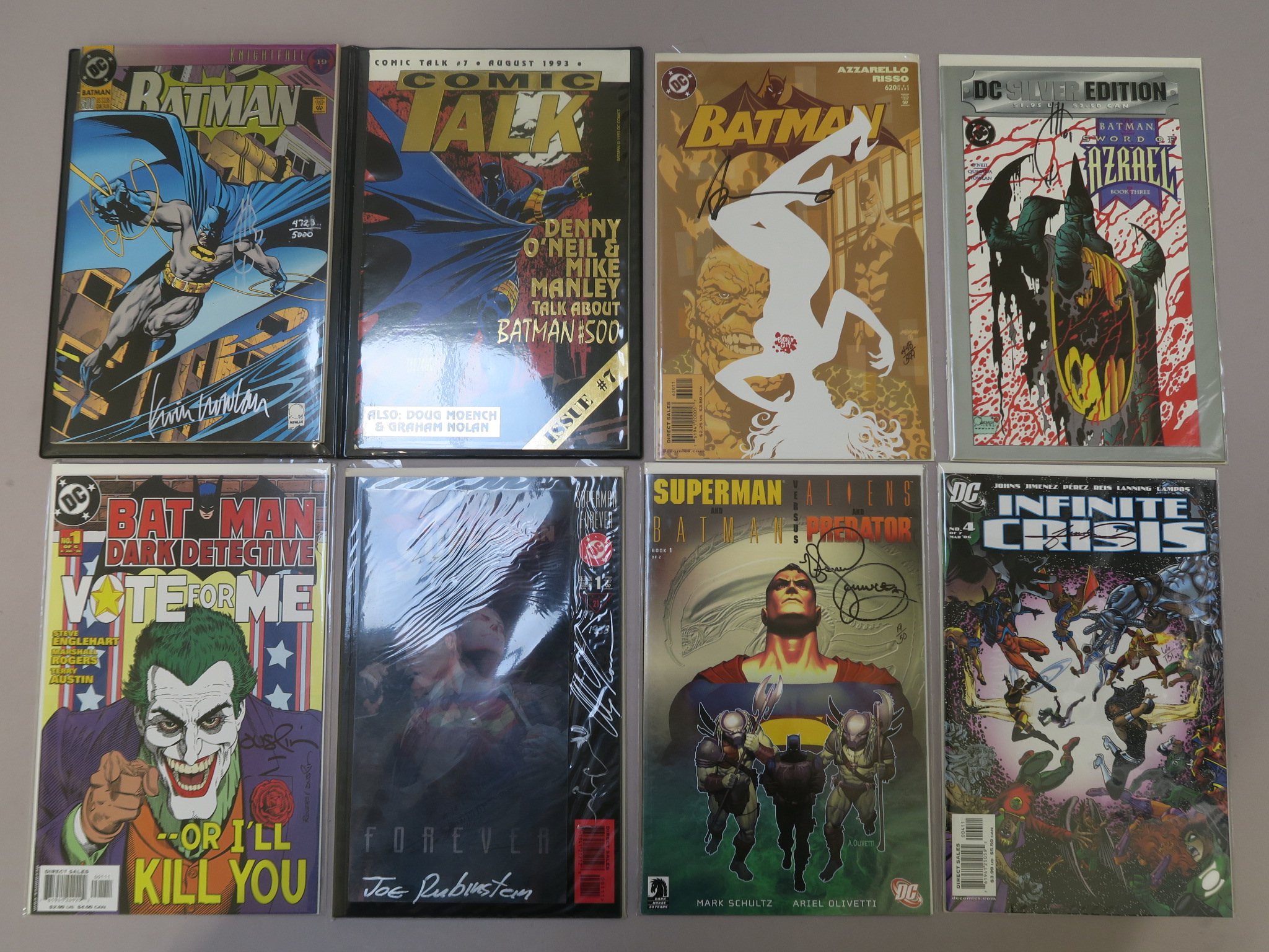 Lot 5 - Signed DC comics including Superman Forever #1 signed by Alex Ross and Joe Rubinstein with sketch (