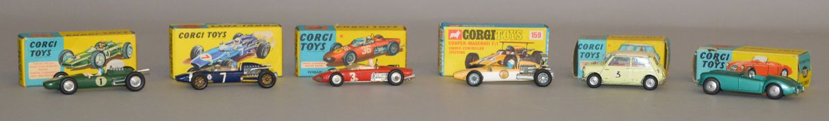 6x Boxed Corgi Toys including #302 MGA Sports Car, #227 Morris Mini Cooper Competition Model etc.