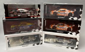 6 Minichamps 1/18 scale racing car models. All boxed.