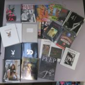 Playboy and glamour lot including sealed Playboy Helmut Newton hardback, sealed Playmate 5 decades