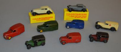 9x unboxed Dinky Toys including Austin Rayleigh Cycles Van together with two Collecta-Boxes. Cream