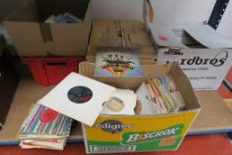 4 boxes of 7 inch singles and 1 box of LPs - good lot with many singles in their original sleeves