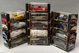 13 assorted Maisto 1/18 scale diecast model cars. All boxed.
