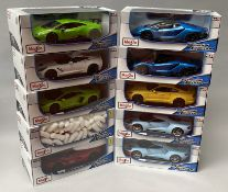 10 Maisto 1/18 scale diecast model cars. All boxed.