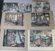 """John Wesley"" (1954) seven original artwork believed to be pre-production set designs for various"