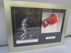 """Sir Henry Cooper"" personally signed boxing glove framed together with a photo of Henry Cooper"