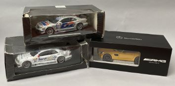 3 Mercedes Benz 1/18 scale diecast model cars including an AMG GT Coupe. All boxed (3)