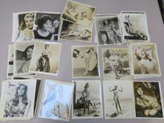 50+ Vintage 10 x 8 inch black and white stills of pin-ups including Ava Gardner, Rita Hayworth,