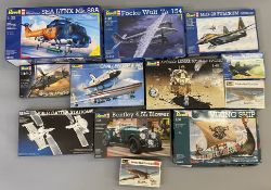EX DEALER STOCK: 12x Revell model kits including 1:100, 1:32 and 1:24 scale examples. All appear