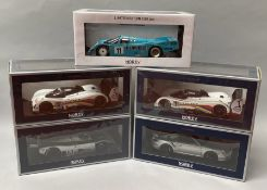 5 NoRev 1/18 scale racing car models. All boxed.