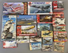 EX DEALER STOCK: 19x Airfix model kits including aviation and naval examples. All appear complete