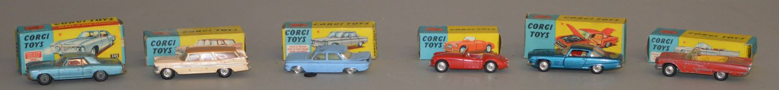6x Corgi Toys models, all boxed including #2155 Ford Thunderbird open sports, #241 Ghia L.6.4, #