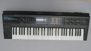 Roland D50 Linear Synthesiser keyboard from 1987 made in Japan serial no 800733 (not tested). (1)