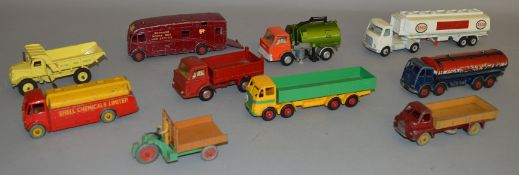 10x Unboxed Dinky Toys and Supertoys including Leyland Octopus, #522 Big Bedford and AEC Monarch
