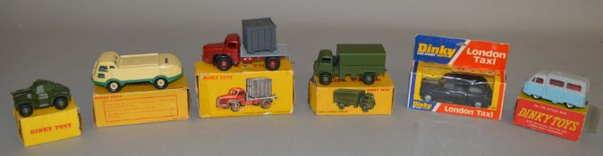 6x Boxed Dinky Toys, 2x French, 4x English: 34B Plateau Berliet Avec Container, 596 Street-