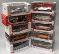 10 Mondo Motors 1/18 scale diecast model cars including Pagani examples. All boxed.