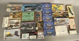 EX DEALER STOCK: 24x assorted model kits including Aurora, Lindberg, Jo-Han, Hasegawa etc. All