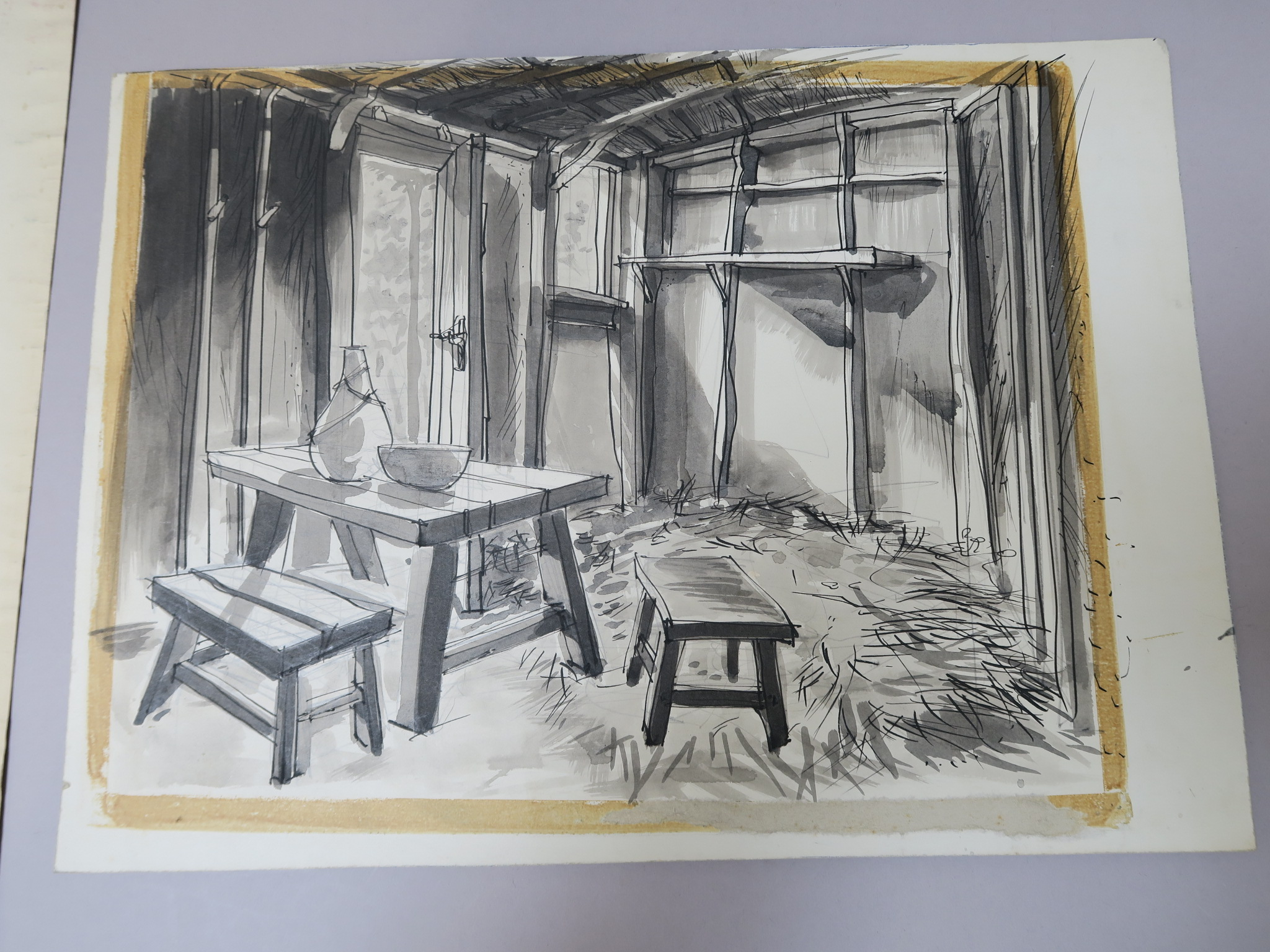Lot 104 - Ivanhoe four original illustrations pre-production artwork and set designs for the film Ivanhoe, one