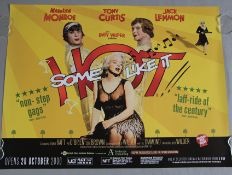 Some like it Hot BFI release British quad film poster in rolled condition picturing Marilyn Monroe