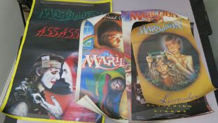 Marillion promotional posters including Assassins (Rolled, Printed in England 1984, tear to edge),