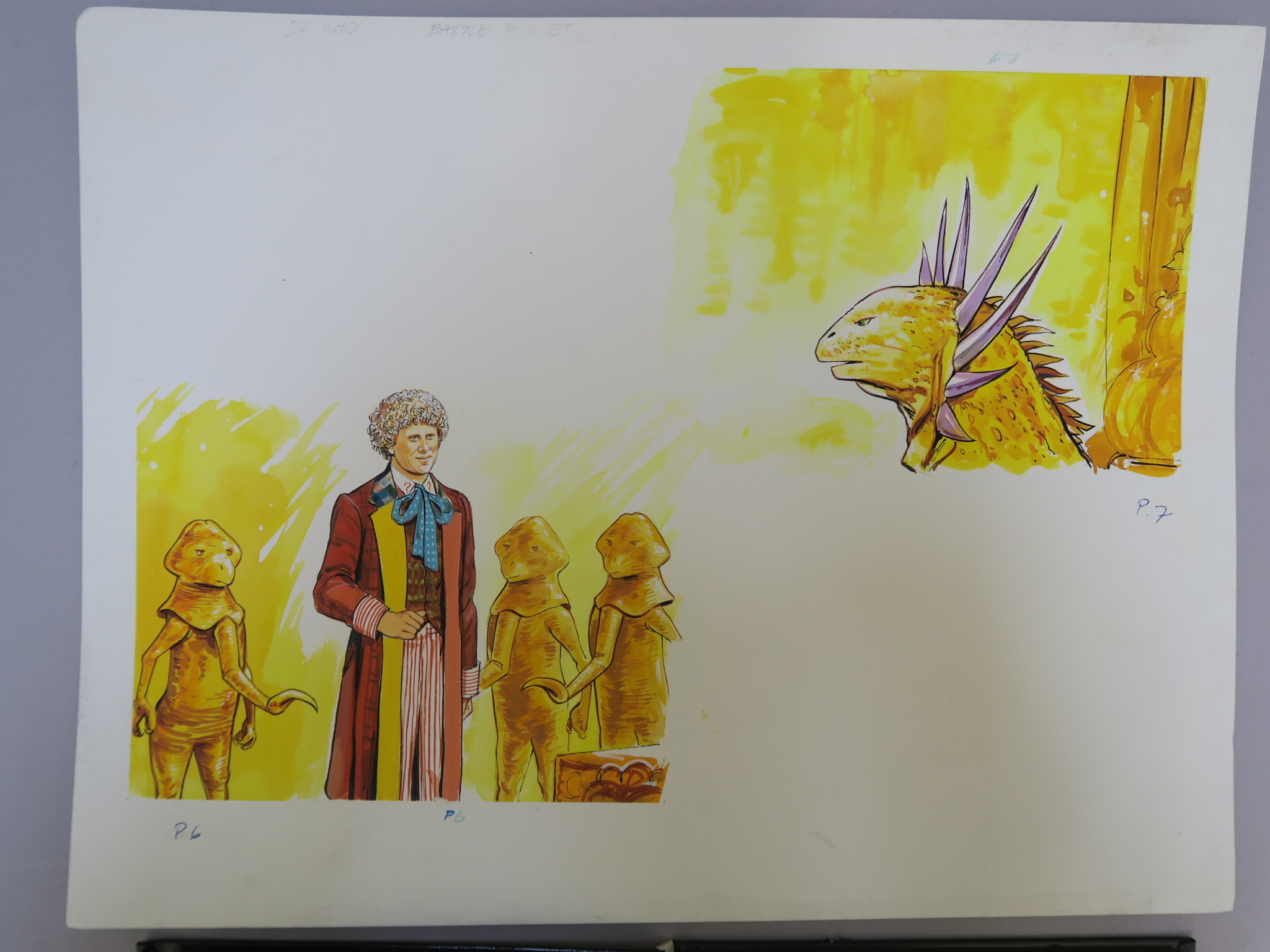 Lot 36 - Doctor Who original finished comic artwork in ink and watercolour on artist board as used for page 6