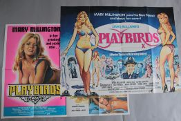 Playbirds original British Quad film poster starring Mary Millington with X certificate artwork by