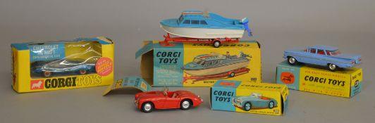 4x Corgi toys, all boxed including #104 Dolphin 20 Cruiser on Wincheon Trailer, #300 Austin Healey