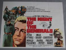The Night of the Generals original British quad film poster picturing Peter O'Toole and Omar