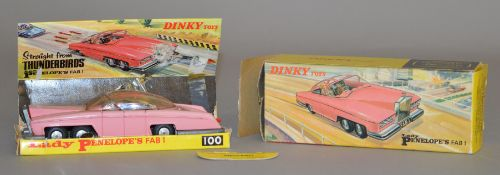 Dinky Toys #100 Lady Penelope's Fab 1, boxed with card display plinth, two exhaust torpedoes and one