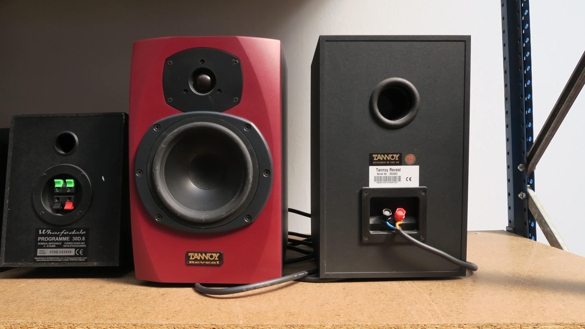Lot 174 - Three pairs of bookshelf speakers - JVC model SP, Wharfdale 30D6 and Tannoy Reveal in red (with