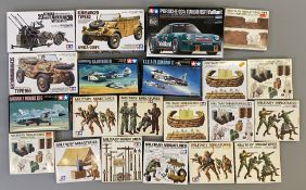 EX DEALER STOCK: 21x Tamiya model kits and figure sets including military, aviation and racing car